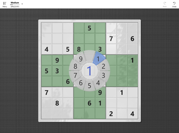 Screen shot of Number-in' Places (number place / sudoku puzzle authoring application for Universal Windows Platform)
